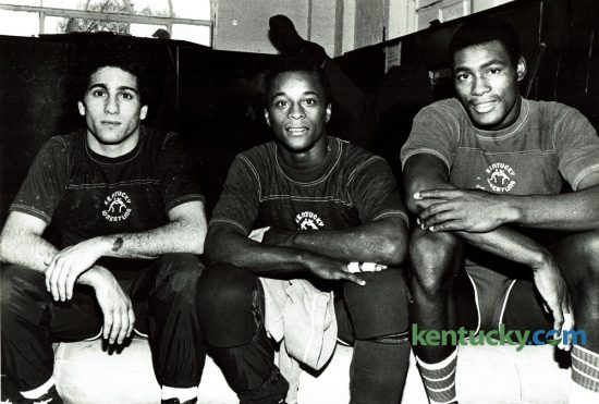 Three members of the University of Kentucky wrestling team, Ricky Dellagatta, left, Reggie Burke and James Johnson, posed for a photo in the fall of 1979. Johnson has been named to the Class of 2016 Kentucky Athletics Hall of Fame. He was a four-year letterman who started from 1977-80 as a 190-pounder. Johnson was a three-time SEC medalist. His post college career included being a member of the USA National Wrestling Team for 12 years, named USA Wrestling's Athlete of Year in 1993. He began his coaching career as graduate assistant at UK. He coached in the 2012 Olympics and is on the training staff for the 2016 Olympics. Photo by Christy Porter | Staff