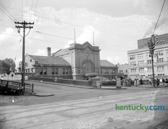 Lexington's Union Station located on Main Street, 1944. It had opened with great fanfare on Aug. 4, 1907, with the arrival of C&O passenger train No. 24. A crowd estimated at 3,000 met the train. The terminal fronted Main Street, just west of Walnut Street, which has been renamed Martin Luther King Boulevard. The exterior was built with red and yellow brick, and green and red glass. The lobby was in the center rotunda, which was 50 by 80 feet, with a central dome 50 feet high. The lobby had a Roman arch ceiling and six oak waiting benches. The last passenger train (the George Washington) departed from the station on May 9, 1957. Union Station was closed because of high operating overhead and low passenger travel. In March 1960, the building was demolished. The current building at the site houses the Lexington Police Department, the Fayette County clerk's office and the downtown's busiest parking garage, the Annex Garage.