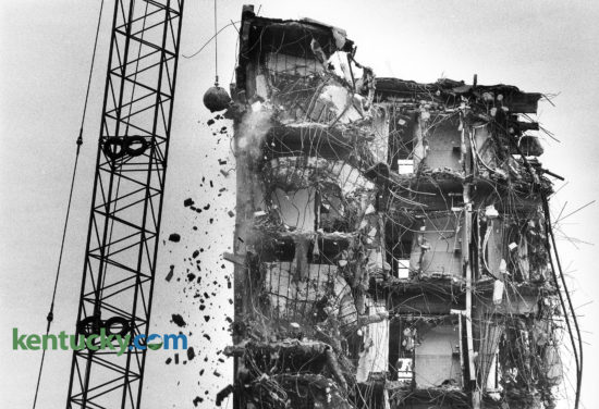 The wrecking ball continued to bring down the Phoenix Hotel in February, 1982 in Lexington, KY. The Phoenix was demolished in 1981 and 1982 by Wallace Wilkinson, who planned to use the site to construct the World Coal Center skyscraper. It was never built and the site eventually became the Park Plaza Apartments and Phoenix Park. Photo by Charles Bertram | Staff
