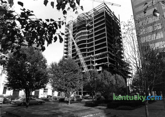 Construction of Humana's headquarters in downtown Louisville, Nov. 17, 1983. The 27-story skyscraper opened in June 1985, boasting 588,400-square-feet of space. The $60 million building is double-tiered, with floors eight through 27 set back 60 feet from the northern edge of the loggia. The 24th-floor roof garden overlooking Main Street offers a stunning view of the Ohio River. Photo by Christy Porter | staff