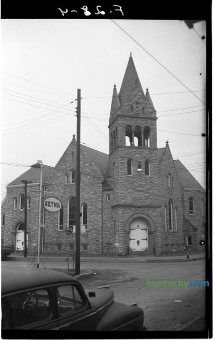 The Christian Church at Main and Mill Streets in Cynthiana was one of several buildings featured in a January 7, 1951 article by J. Frank Adams in the Herald-Leader. The story was the seventh in a series on Blue Grass communities and touted the growth of the Harrison County seat which had been founded in 1793 and named for two daughters, Cynthia and Anna, of its first settler, Robert Harrison, a blacksmith. Herald-Leader Archive Photo