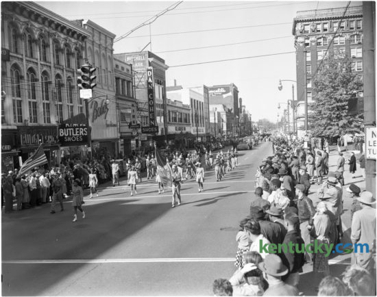 The Douglass High School Band, one of four bands in the Veterans Day Parade marched down Main Street in Lexington November 12, 1956. Published  in the Lexington Herald November 13, 1956. Herald-Leader Archive Photo