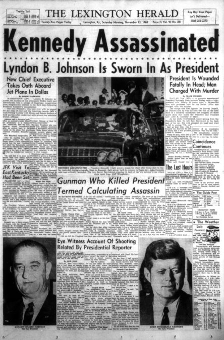 Front page of The Lexington Herald, November 23, 1963, one day after President John F. Kennedy was assassinated in Dallas. A story on the left side of the page says the President was to visit Eastern Kentucky with Governor Bert Combs. Click on the image for a closer look.
