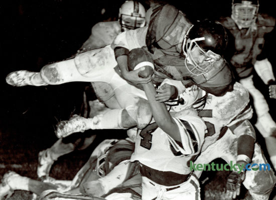 Hazard High School's Keith Deaton found himself airborne thanks to the efforts of the Phrestonsburg defense during first half action of their game November 8, 1985. Hazard takes on Beechwood in Class A finals of the KHSAA Commonwealth Gridiron Bowl tonight at 8pm in Bowling Green. Hazard last won the state championship in 2011 with a 24-6 win over Mayfield. Photo by Jim Wakeham | Staff