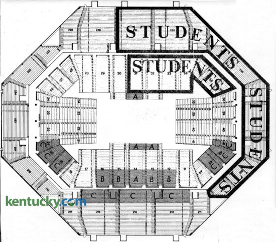"""The first seating chart for University of Kentucky basketball games when Rupp Arena opened in the Lexington Center in 1976. The shaded A, B, and C areas were designated for Blue-White Fund contributors. """"We've got more request for Blue and White Fund seats than we have seats available,"""" UK Athletics Director Cliff Hagan said five months before the new home of the Wildcats opened. """"But I guess that's a nice problem to have."""" The Blue White Fund, the fundraising arm of University of Kentucky Athletics, know today as The K Fund, was started in 1973 for football tickets when the Wildcats moved into Commonwealth Stadium. """"We should have learned from the response to football - that should have been the barometer."""" Hagan continued, """"the real surprise has been the response of people who held priority seating in Memorial Coliseum. They've taken over half the 3,000 seats allotted to the Fund."""" Hagan explained the 3,000-seat limit was self-imposed, """"to enable fans to attend the games at regular price."""" Donation requirements were the cost of the ticket, plus $250 in the A areas, $100 in the B, and $50 in the C. The other 20,000 seats were divided among the public, faculty and students, who were offered 7,000 seats, including some at prime locations such as mid-court, lower level. Student tickets were free, faculty were sold at a reduced rate and general public were $5 for lower level, $4 upper. Despite the enormity of moving from 11,500 seat Memorial Coliseum to 23,000 Rupp Arena, Hagan pointed out """"people will still be 70 feet closer than the farthest seat in Freedom Hall."""" Published in the Nov. 24, 1976 Lexington Herald."""