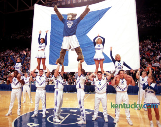 "Later Duerson proposed to his girlfriend, Karla Sodan, in grand style. With 7:53 left in the second half of UK's victory over South Carolina, Duerson, in full costume, climbed to the top of a cheerleaders' pyramid wearing a shirt that said: ""KARLA WILL YOU MARRY ME?"" Photo by Janet Worne 