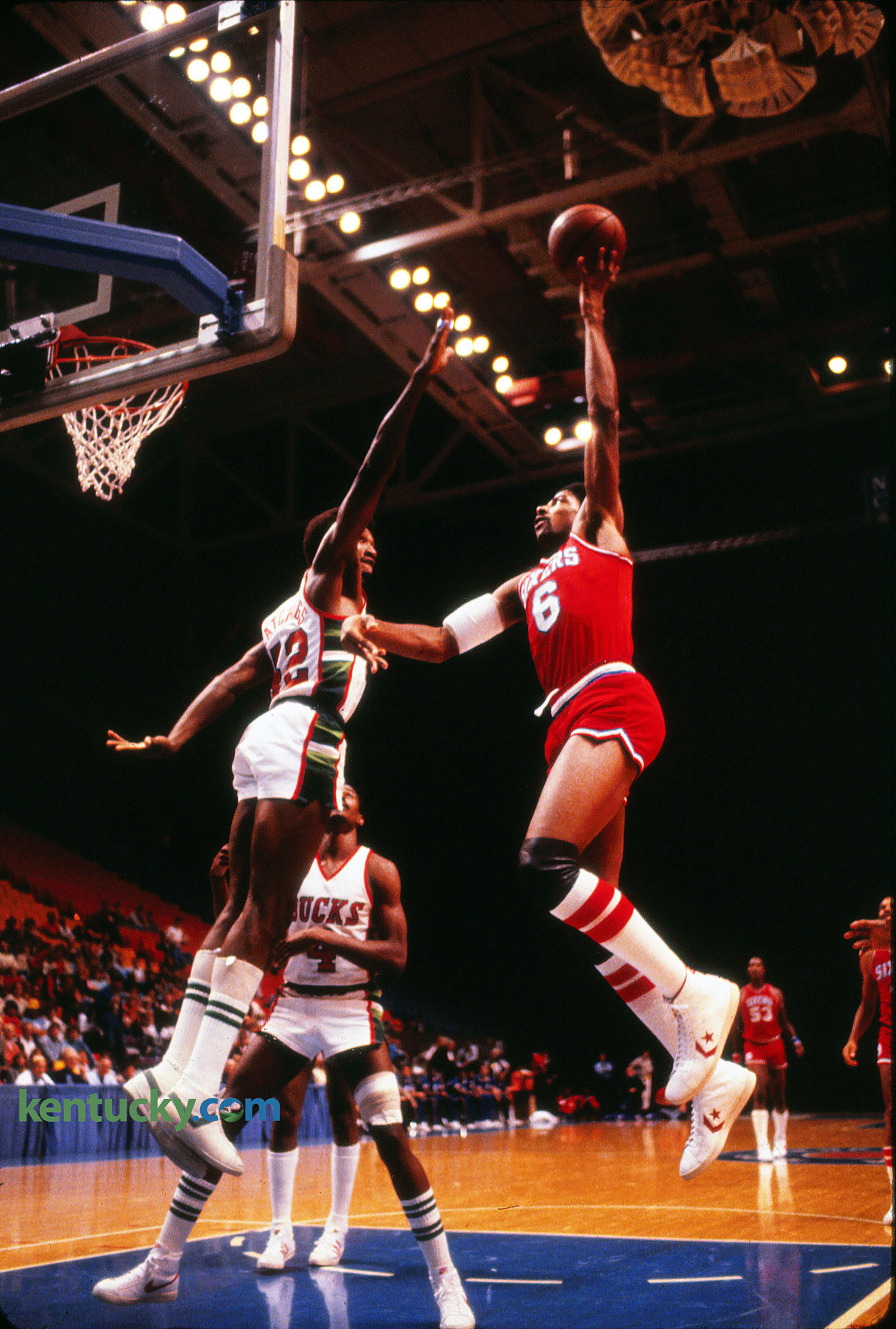 Julius Erving in NBA exhibition game at Rupp Arena 1980
